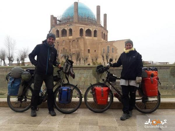 عکس، زن و شوهر ایتالیایی با دوچرخه به گنبد سلطانیه رسیدند